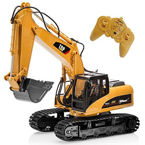 Big-Daddy Super Powerful Full Functional DIE-CAST 15 Channel Professional Remote Control Excavator Tractor Toy With Lights & Sound