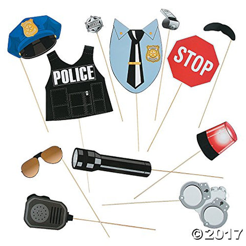 Police Party Photo Stick Props - 12 pc