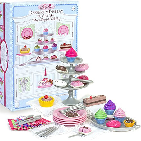 Sophia's 18  Doll Dessert Set with Desserts, Serving Plates, Utensils and Trays (39-Piece)