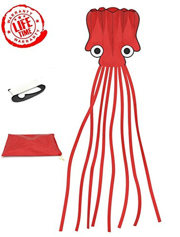 #1 Octopus Kite with 300 Feet of String and Easy Storage Bag | Premium Quality | Red | GIANT Parafoil Kite Toy Over 16 FEET LONG | Flying Toys for Boys | #1 Beach Toy | Keep & Refund Promise