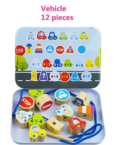 Elloapic Lacing Beads Stringing Beads with 12pcs big Beads Preschool Fine Motor Skills Toys for Toddler - Vehicle Cars