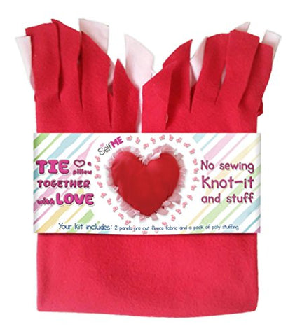Heart Pillow Kit, DIY, No sew Tie a pillow kit, Knot-it and Stuff , Precut fleece fabric and stuffing Selfme