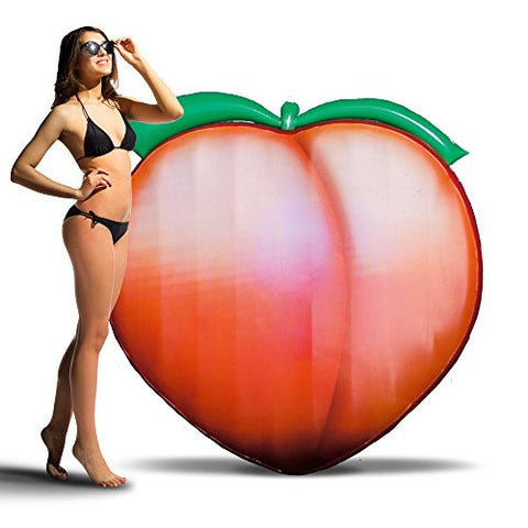 Peach Emoji Pool Float - Inflatable Giant Pool float 5ft by 5ft - Ages 8+ - Great for outdoor swimming pools