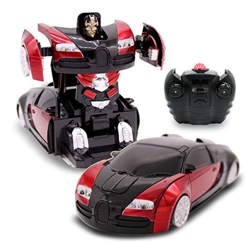 Transformania Toys RC Toy Remote Control Car, Wall Climbing Transforming Robot Sports Car Radio Control, Mini Gravity Car Kids Electric Toy, Red