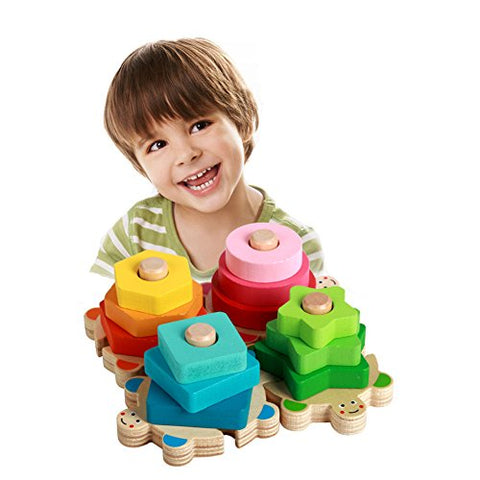 ZaH Baby Shape Sorter Toys Wooden Stacking Blocks Toy Learning Education Puzzles Play Set Birthday Christmas Gift for Boys Girls Toddlers Kids (Rianbow Turtle)