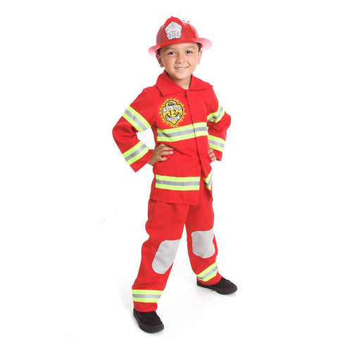 Fire Fighter Costume Light Up Patch On Chest Kids W/Hat Fire Man S M 4-6 -8 (M 6-8) Red