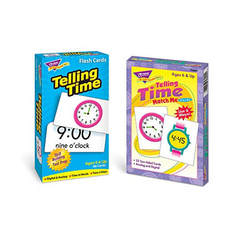 Trend Telling Time Flash Cards & Telling Time Match Me Cards Bundle