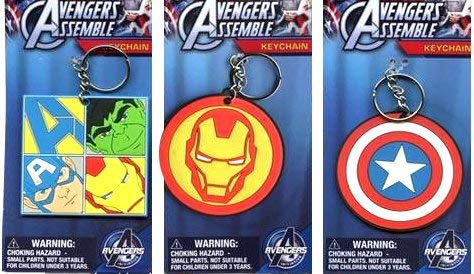Total 3 Ct Rubber Keychains For Birthday Gifts Or Party Favors Travel Luggage Backpack Tag Etc (Captain America Shield Symbol, Iron Man, Avengers)