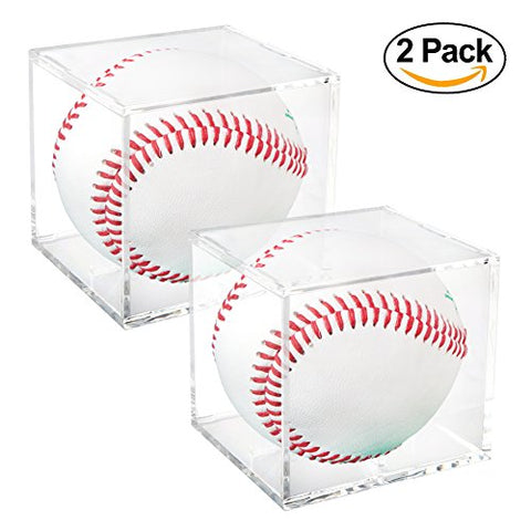 Square Baseball Holder | 2 Pieces Full Acrylic Stackable Baseball Memorabilia Cube | 3.2 x 3.2 x 3.2 Clear Transparent Square Baseball Storage with Build in Stand to Display Base Ball with Autograph