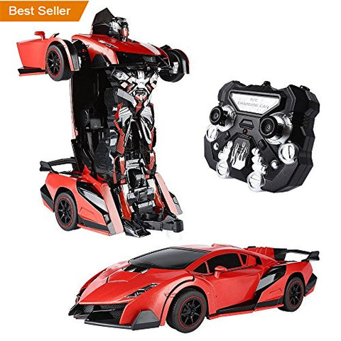 SainSmart Jr.Transform Car Robot, Remote Control Robot Car with One Button Tranforming and Realistic Engine Sound(Red)