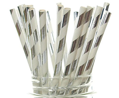 Silver Shiny Foil Straws   Christmas Party Straws, Elegant Holiday Wedding Supplies, Silver Anniversary Dinnerware, Silver Paper Straws