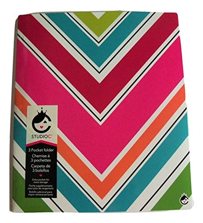 Carolina Pad Studio C Tri-fold 3-Pocket Folder ~ Sugarland (Colorful Chevrons)