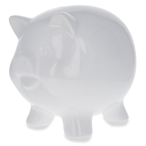 Blank Unpainted White Diy Ceramic Piggy Bank 5.75 Inches