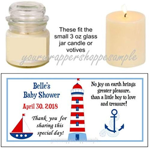 56 Nautical Sailor Baby Shower Candle Party Favor Labels It'S A Boy!