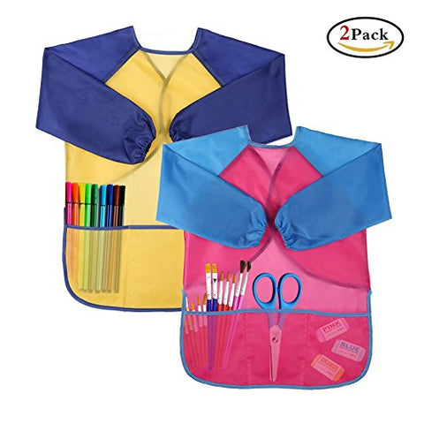 Kids' Art Aprons Waterproof Smocks Long Sleeve with 3 Pockets for Age 3-6 Children Painting and Cooking