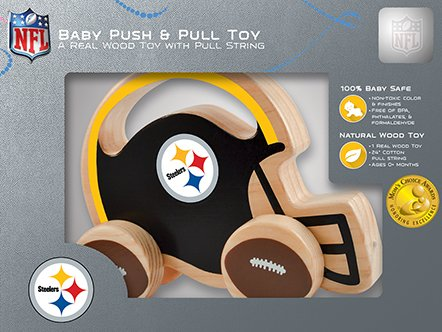 Masterpieces Nfl Pittsburgh Steelers Natural Wood, Non-Toxic, Bpa, Phthalates, & Formaldehyde Free, Push & Pull Toy With Cotton String