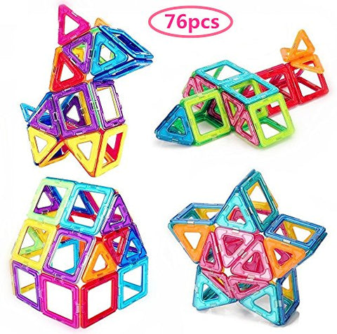 76pcs Magnetic Blocks Magnetic Building Blocks Toys For Boys Girls, Magnet Tiles Molding Kits For Kids by Morcare