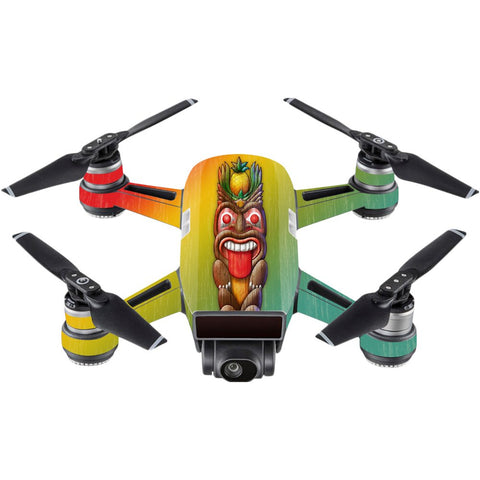 Mightyskins Skin Compatible With Dji Spark Mini  Tiki Man | Protective, Durable, And Unique Vinyl Decal Wrap Cover | Easy To Apply, Remove, And Change Styles | Made In The Usa