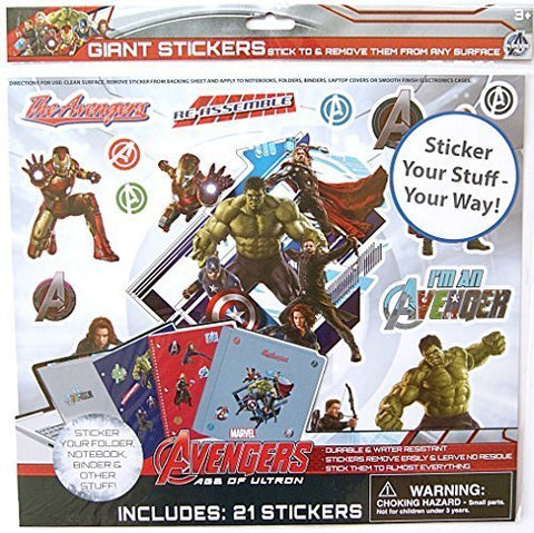 Marvel Avengers Giant Stick Anywhere Stickers - 21 count