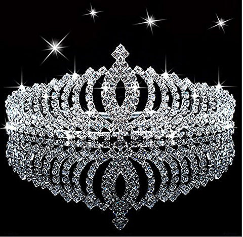 Novelty Princess Tiara Sparkle Crystal Rhinestone Kid's Crown Birthday Glitter Tiara with Comb