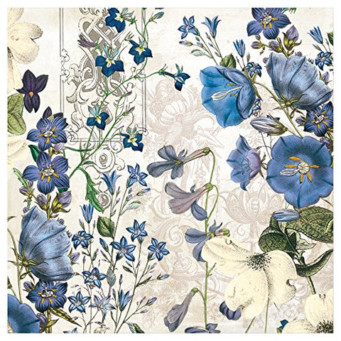 Michel Design Works 20-Count 3-Ply Paper Cocktail Napkins, Blue Meadow