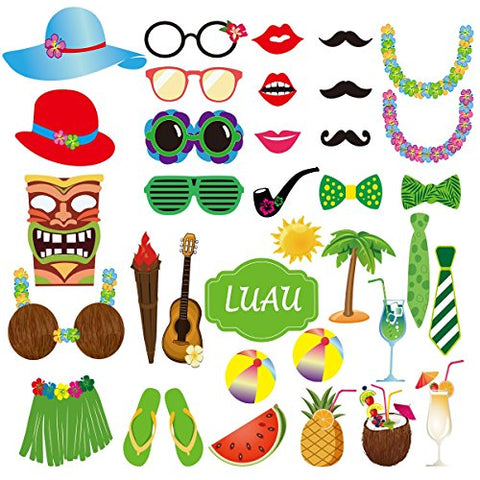 Tinksky 36pcs Hawaii Photo Booth Props for Summer Holidays Beach Luau Party Favors