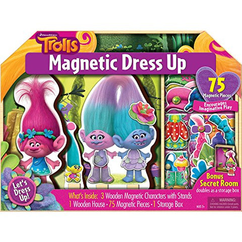 Bendon AS92757 Trolls 75-Piece Magnetic Wooden Dollhouse