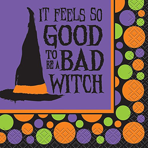 Bad Witch Halloween Cocktail Napkins, 16Ct