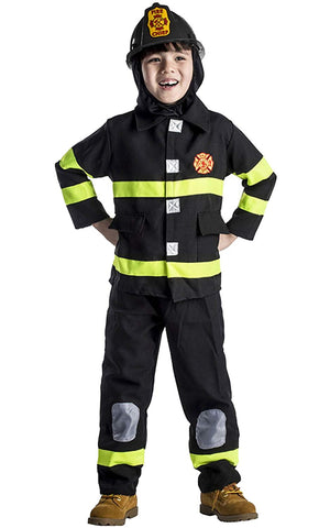 Award Winning Deluxe Fire Fighter Dress Up Costume Set And Helmet