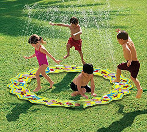 Inflatable Portable Splash Pad toys  anthonygift 66in cartoon spray water sprinkler ring toys for summer outdoor swimming beach lawn sprinkler party children kids