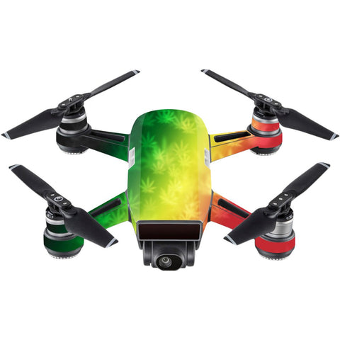 Mightyskins Skin Compatible With Dji Spark Mini - Rasta Rainbow | Protective, Durable, And Unique Vinyl Decal Wrap Cover | Easy To Apply, Remove, And Change Styles | Made In The Usa