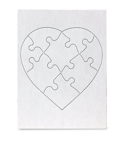 Hygloss Products Blank Jigsaw Heart Puzzle  Compoz-A-Puzzle  6 X 8 Inch - 8 Pieces, 12 Puzzles