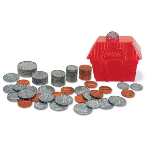 Hand2Mind Plastic Play Money Coins With A Red Bank (Set Of 96 Coins)
