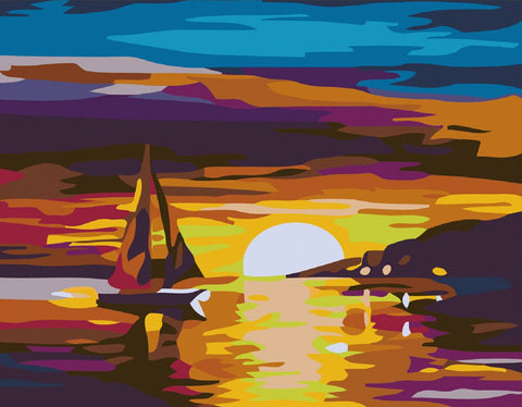 Captaincrafts New Paint By Numbers For Adults Beginner Children Diy Pre-Printed Linen Canvas Oil Painting Kits Home House Decor Gift 16X20 Inch - Ocean Sunset Sailboat (Frameless)