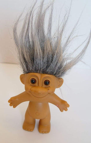 Rare Russ Gray Haired Troll Doll 4.5 Inches Tall