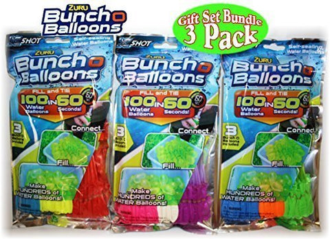 Zuru Bunch O Balloons Instant 100 Self-Sealing Water Balloons Complete Gift Set Bundle - (300 Balloons Total)