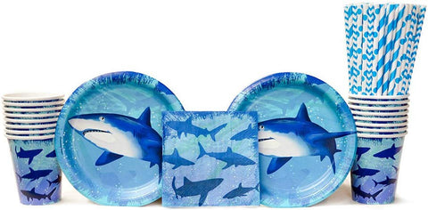 Shark Splash Party Supplies Pack For 16 Guests: Straws, Dessert Plates, Beverage Napkins, And Cups