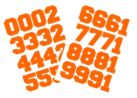 "Chalkallaboutit Sports Helmet Numbers 1.5"" Baseball, Hockey, Football And Lacrosse (Orange)"