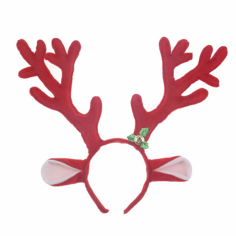 M&G House Reindeer Antlers Headband Christmas And Easter Party Short Plush Headbands Red