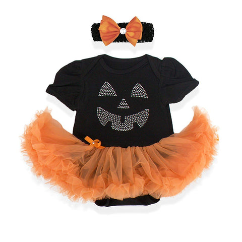 V28 Baby'S All In 1 Fancy Dress Halloween Christmas Princess Party Romper Suits (Xl (12-18 Months), Pumpkin-Black)
