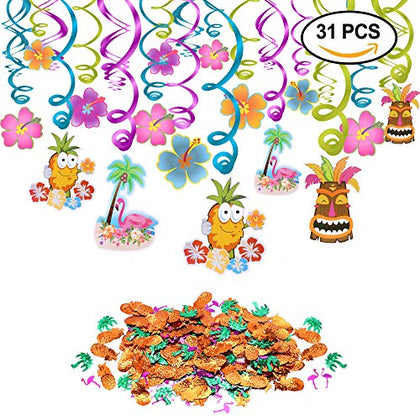 Hawaiian Decorations Luau Party Hanging Swirls (30pcs) Pineapples Flamingos Coconut Palm Confetti (0.53oz) for Tropical Tiki Luau Summer Beach Hibiscus Birthday Pool Party Favor Supplies