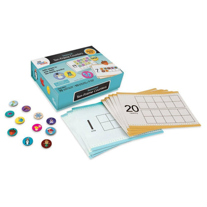 Hand2Mind Seasonal Ten-Frame Counters For Kids (Ages 5+) | Math Counters For Counting And Sorting (288 Counters & 10 Double-Sided Cards)