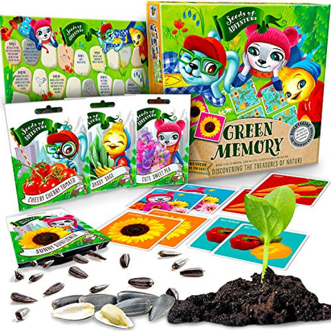 Matching Memory Game with SEEDS 10 Variety Pack of organic seeds, Educational & Interactive Card Game with Gardening Experience