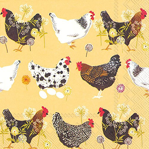 Ideal Home Range 20 Count Spatter Hens Yellow Paper Luncheon Napkins