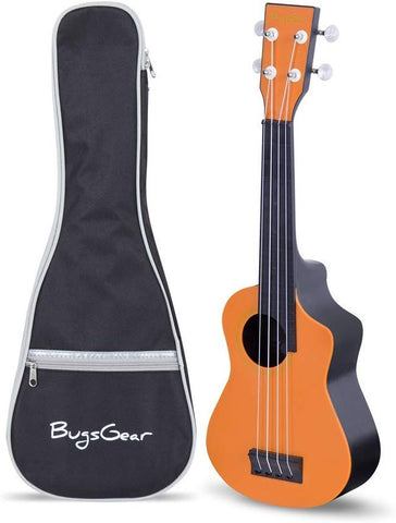 Bugs Gear Rpns-Org-Bk Portable Outdoor Kid Friendly 18 Fret Soprano Aqulele Water Resistantukulelewith Case, Orange/Black
