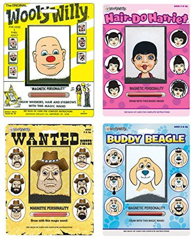 Playmonster Wooly Willy Bundle with Original, Buddy Beagle, Hair Do Harriet, and Wanted Poster (4 items)