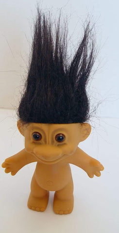Rare Vintage Russ Black Haired Troll Doll 4.5 Inches Tall