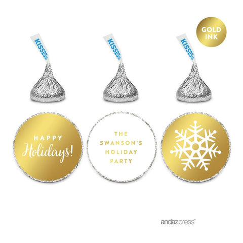 Andaz Press Personalized Chocolate Drop Labels Trio, Metallic Gold Ink, Happy Holidays, 216-Pack, Fits Hershey'S Kisses, Custom Made Any Name, Envelope Seals, Stationery