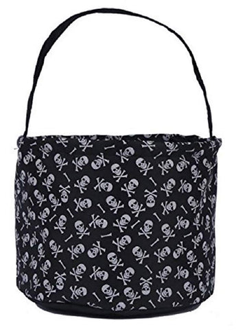"Jolly Jon Halloween Trick Or Treat Bags - Kids Candy Bucket Tote Bag - White Skull And Cross Bones - Black Basket 6.75"" Tall X 9"" Diameter"