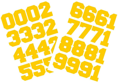 "Chalkallaboutit Sports Helmet Numbers 1.5"" Baseball, Hockey, Football And Lacrosse (Yellow)"